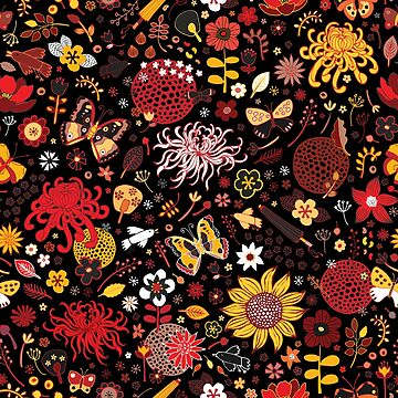 Japanese Garden - Red, Gold and Rust on Black - exotic floral pattern by Cecca Designs by Cecca-Designs