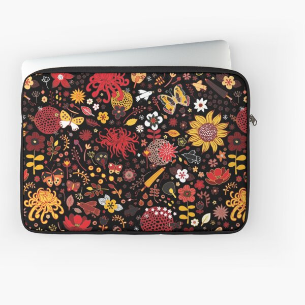 Japanese Garden - Red, Gold and Rust on Black - exotic floral pattern by Cecca Designs Laptop Sleeve