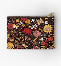 Japanese Garden - Red, Gold and Rust on Black - exotic floral pattern by Cecca Designs Studio Pouch