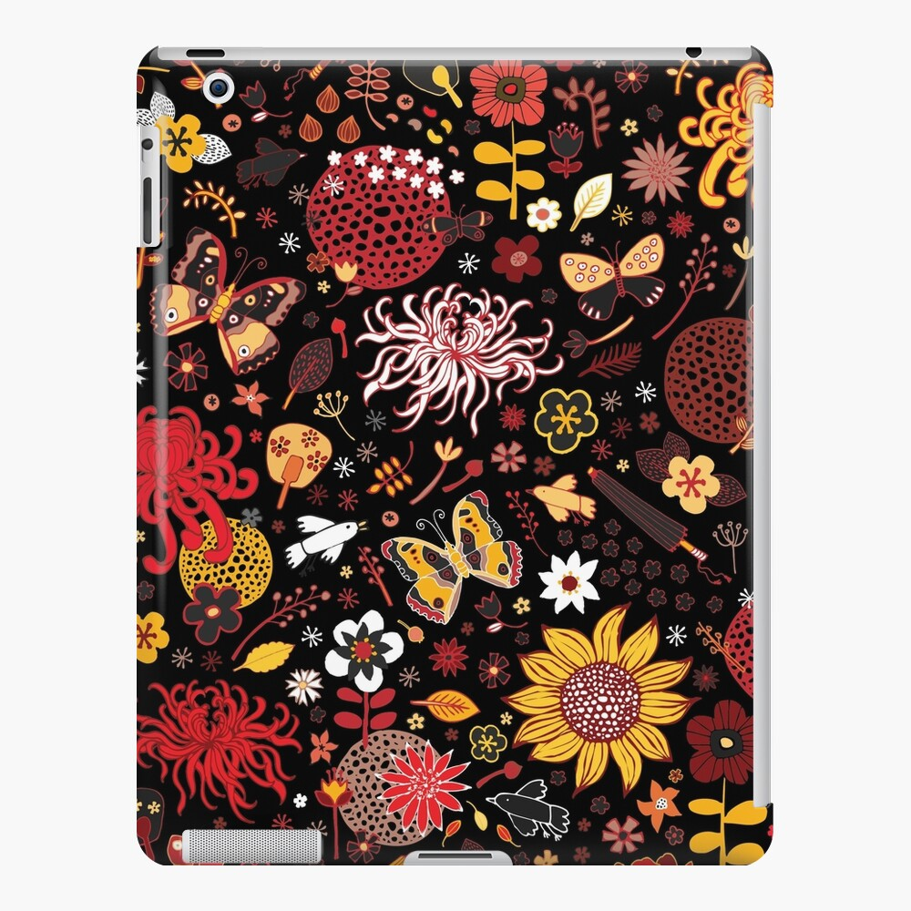 Japanese Garden - Red, Gold and Rust on Black - exotic floral pattern by Cecca Designs iPad Case & Skin