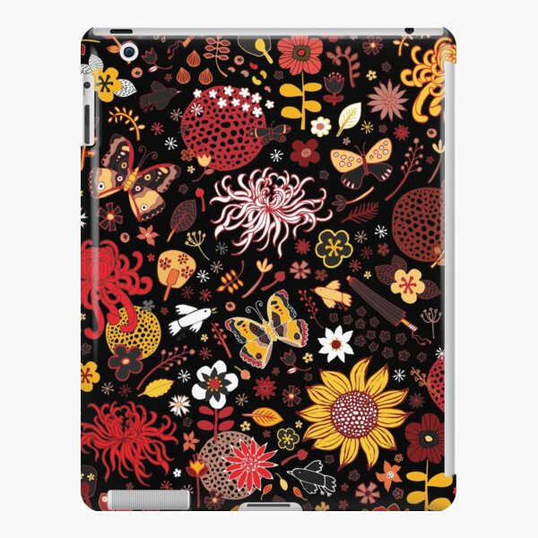 Japanese Garden - Red, Gold and Rust on Black - exotic floral pattern by Cecca Designs iPad Snap Case