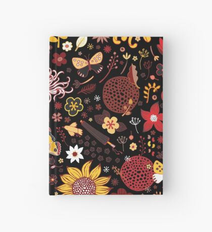 Japanese Garden - Red, Gold and Rust on Black - exotic floral pattern by Cecca Designs Hardcover Journal