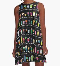 Line em Up! - Prohibition Cocktails pattern on black by Cecca Designs A-Line Dress
