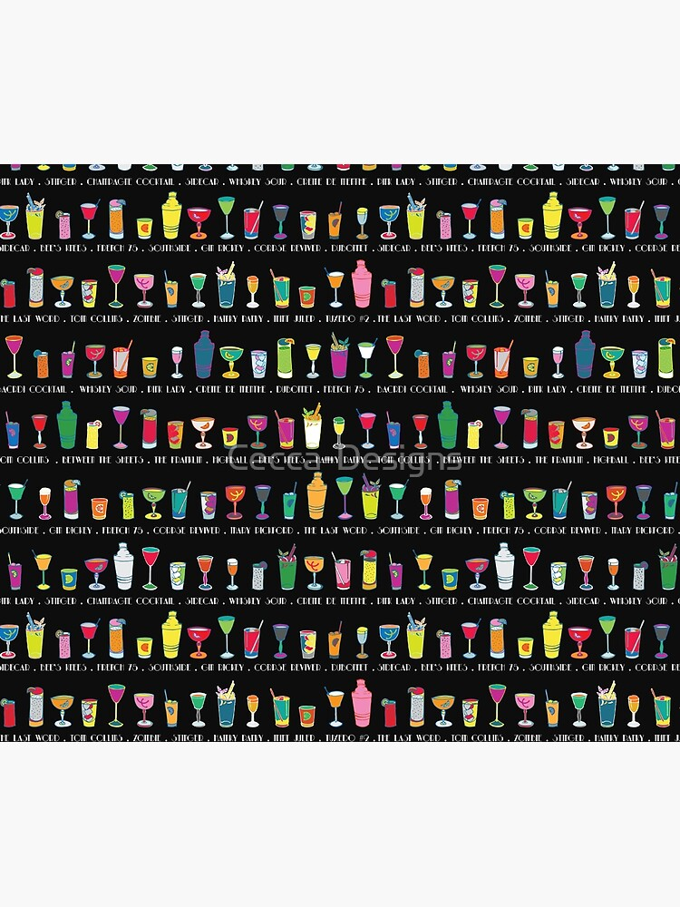 Line em Up! - Prohibition Cocktails pattern on black by Cecca Designs by Cecca-Designs