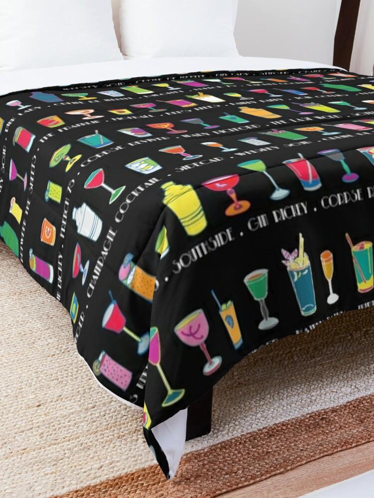 Alternate view of Line em Up! - Prohibition Cocktails pattern on black by Cecca Designs Comforter
