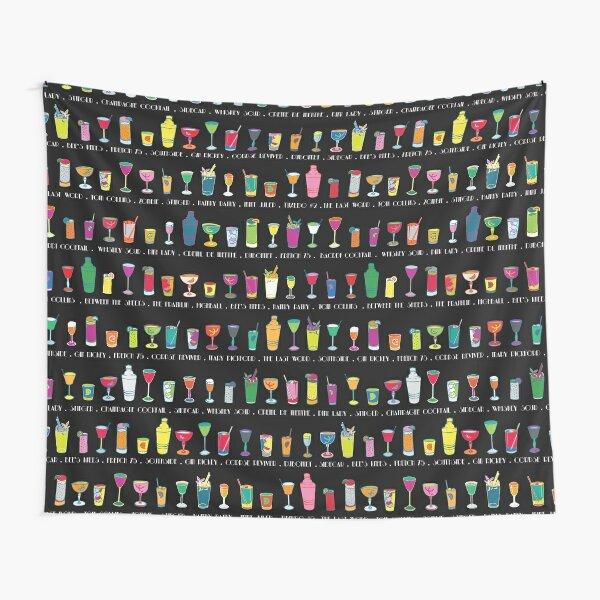 Line em Up! - Prohibition Cocktails pattern on black by Cecca Designs Tapestry