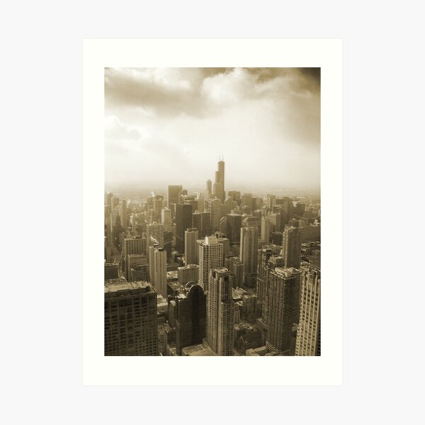 Chicago Skyline Mono Art Print