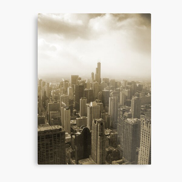 Chicago Skyline Mono Metal Print