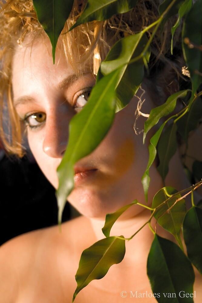 Behind leaves by Mloes