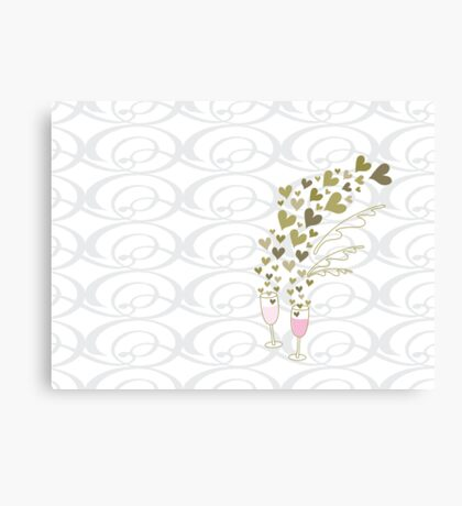 Pink Wedding Champagne Cheers Canvas Print