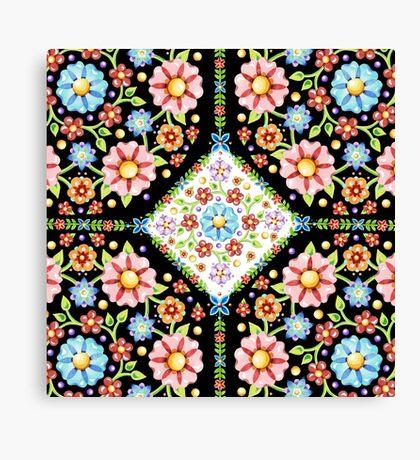 Millefiori Floral Tile Canvas Print