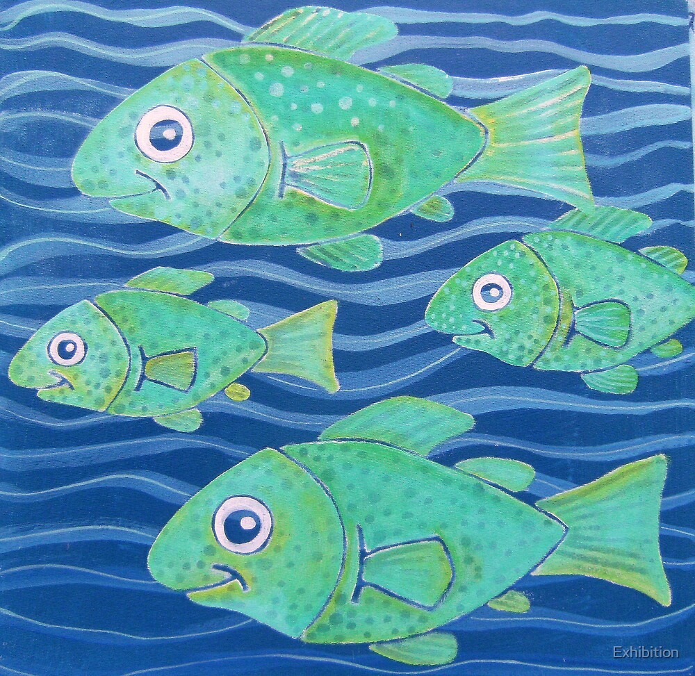 """"""" SWIMMING TOGETHER 4 FISH """" by Exhibition"""