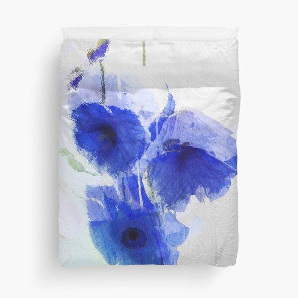 Cobalt Poppies Duvet Cover