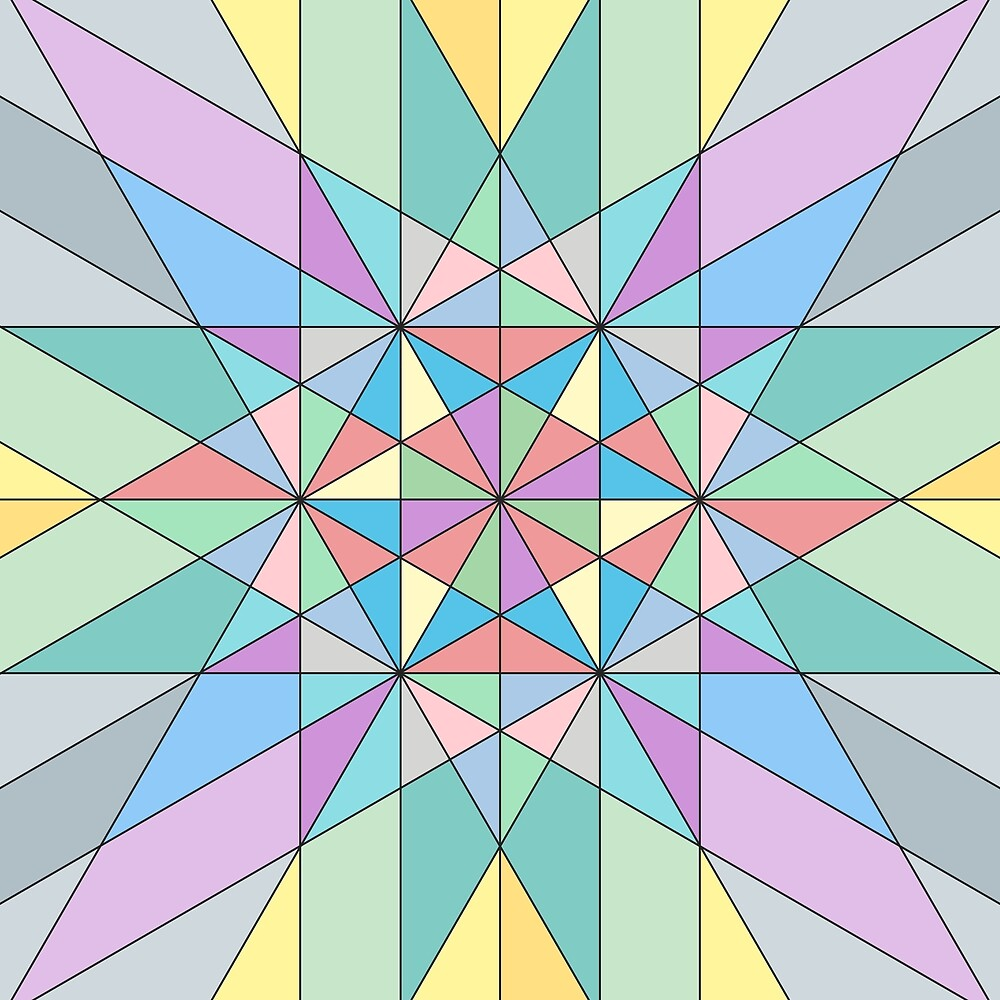 Colorful Pastel Mosaic Triangle Star Pattern by PLdesign