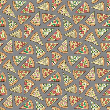 Pizza Fast Junk Food on Grey by CajaDesign