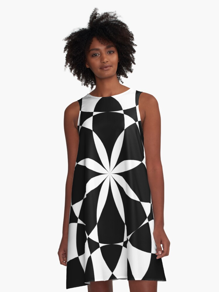 Black and white flower mandala mosaic A-Line Dress Front