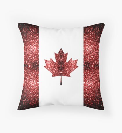 Canada flag red sparkles Throw Pillow