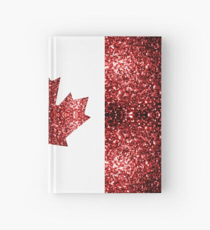 Canada flag red sparkles Hardcover Journal