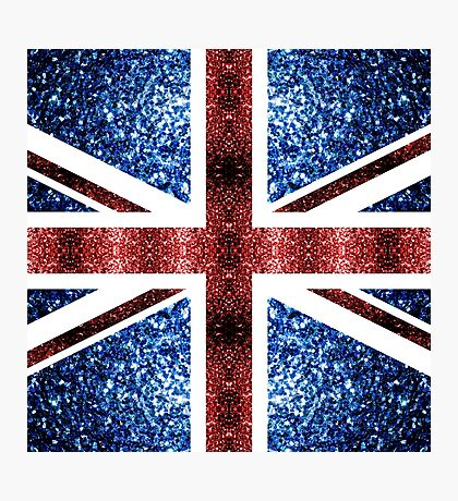 United Kingdom UK flag blue and red sparkles Photographic Print