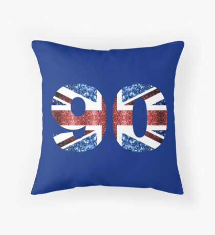 Sparkly flag of United Kingdom UK number 90 Throw Pillow