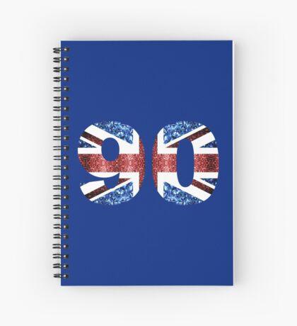 Sparkly flag of United Kingdom UK number 90 Spiral Notebook
