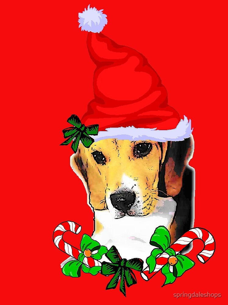 Beagle in Santa Hat Christmas Gifts by springdaleshops