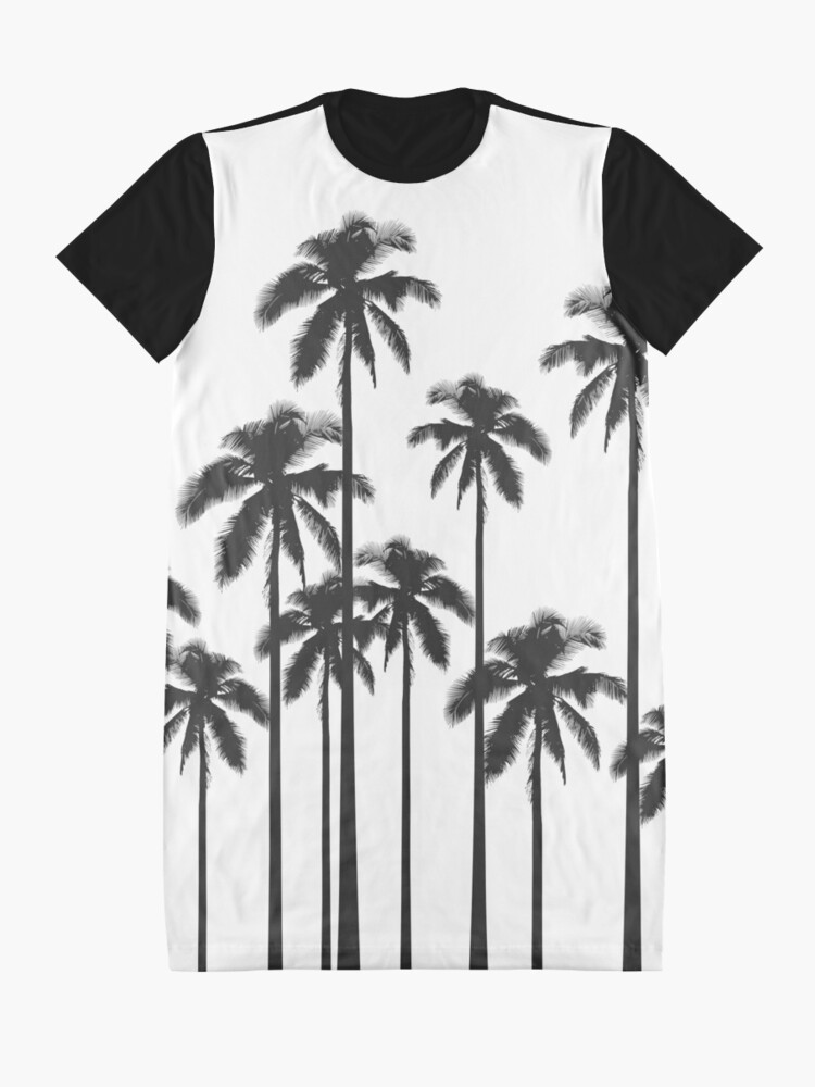 Alternate view of Black and White Exotic Tropical Palm Trees Graphic T-Shirt Dress