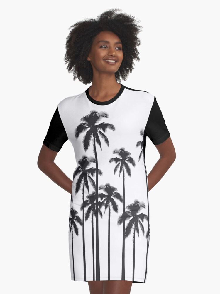 Black and White Exotic Tropical Palm Trees Graphic T-Shirt Dress Front