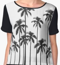 Black and White Exotic Tropical Palm Trees Women's Chiffon Top