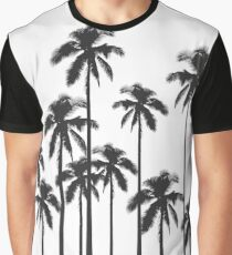 Black and White Exotic Tropical Palm Trees Graphic T-Shirt