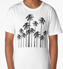 Black and White Exotic Tropical Palm Trees Long T-Shirt