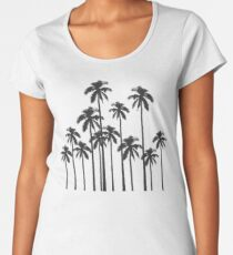 Black and White Exotic Tropical Palm Trees Women's Premium T-Shirt