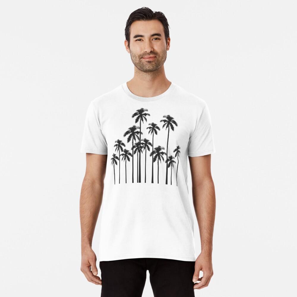 Exotische tropische Schwarzweiss-Palmen Premium T-Shirt