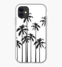 Black and White Exotic Tropical Palm Trees iPhone Case