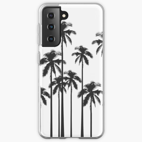 Black and White Exotic Tropical Palm Trees Samsung Galaxy Soft Case