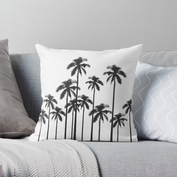 Exotische tropische Schwarzweiss-Palmen Dekokissen