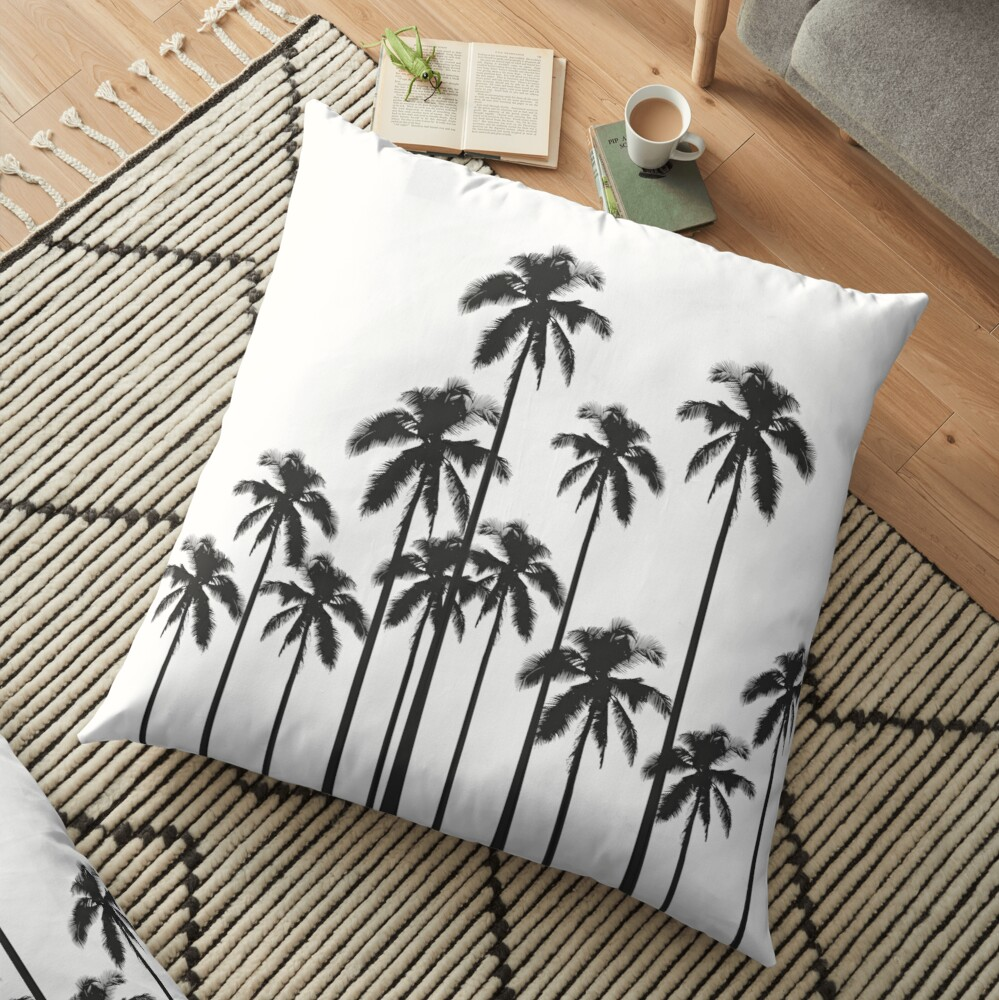 Black and White Exotic Tropical Palm Trees Floor Pillow