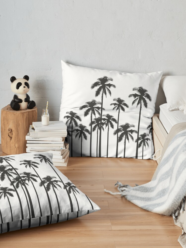 Alternate view of Black and White Exotic Tropical Palm Trees Floor Pillow