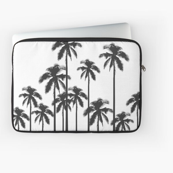 Black and White Exotic Tropical Palm Trees Laptop Sleeve