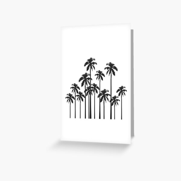 Black and White Exotic Tropical Palm Trees Greeting Card