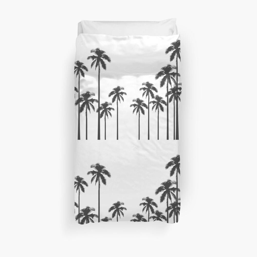 Exotische tropische Schwarzweiss-Palmen Bettbezug
