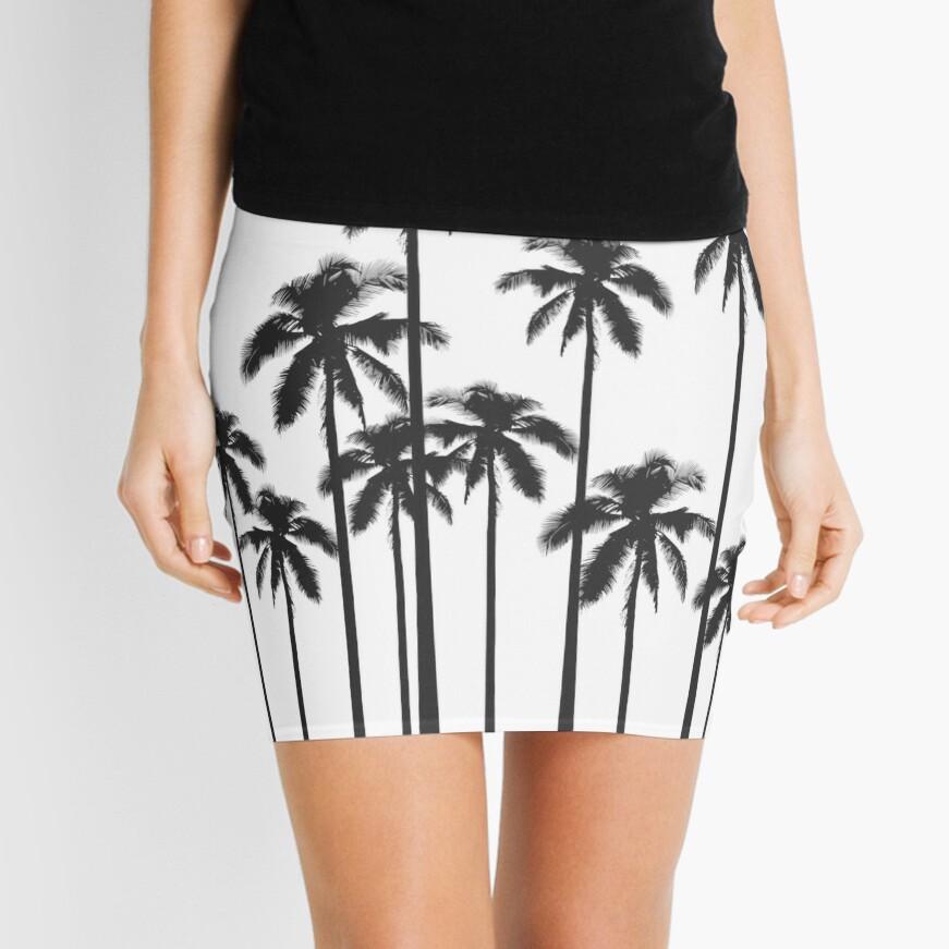 Exotische tropische Schwarzweiss-Palmen Minirock