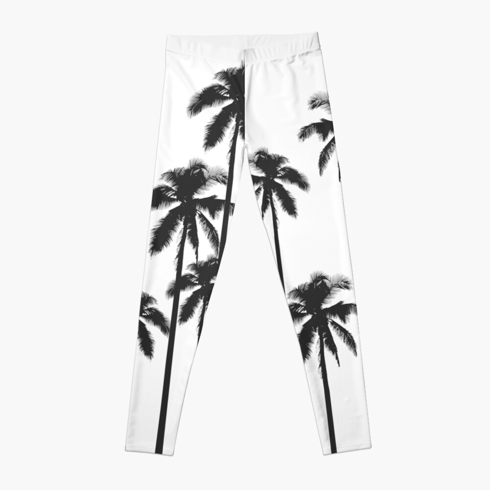 Black and White Exotic Tropical Palm Trees Leggings