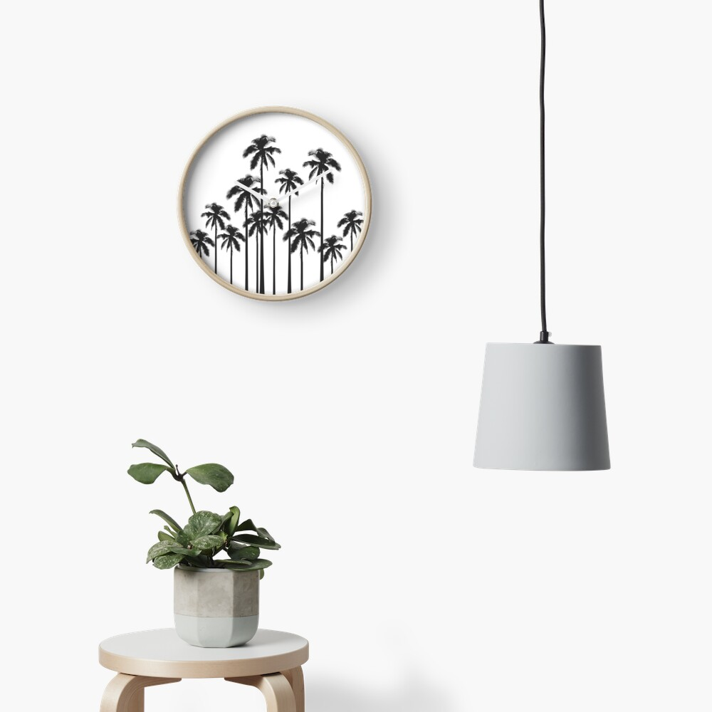 Black and White Exotic Tropical Palm Trees Clock