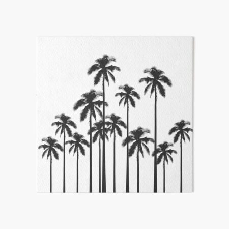 Black and White Exotic Tropical Palm Trees Art Board Print