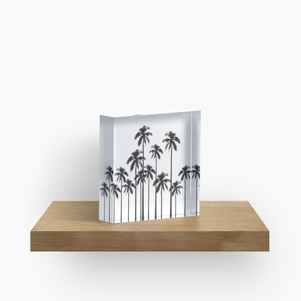 Black and White Exotic Tropical Palm Trees Acrylic Block