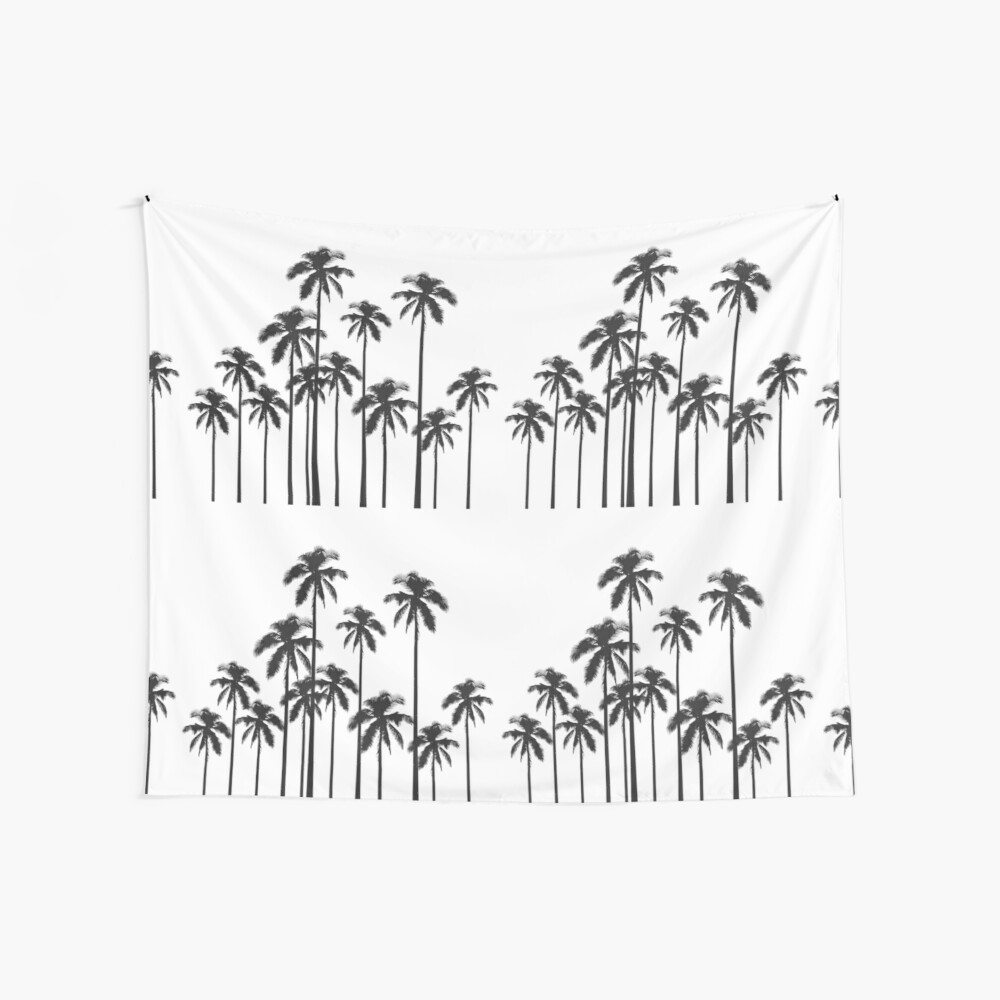 Black and White Exotic Tropical Palm Trees Wall Tapestry