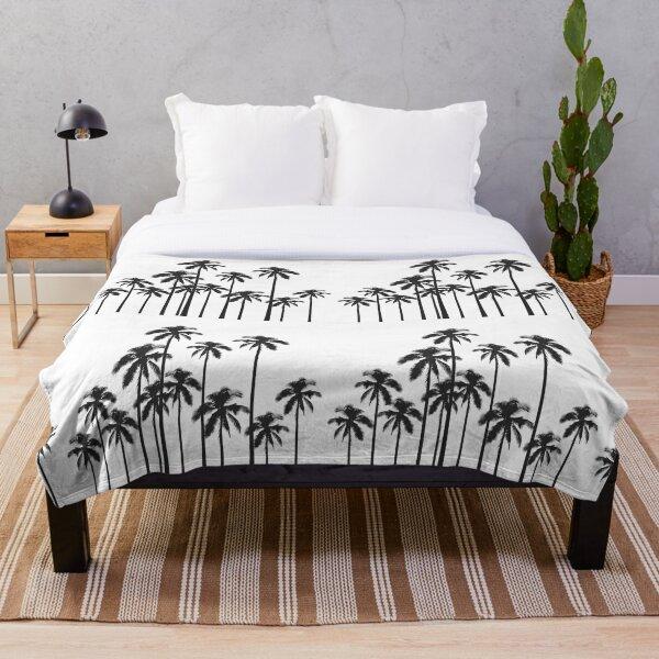 Exotische tropische Schwarzweiss-Palmen Fleecedecke
