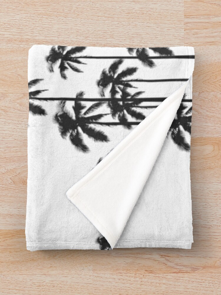 Alternate view of Black and White Exotic Tropical Palm Trees Throw Blanket