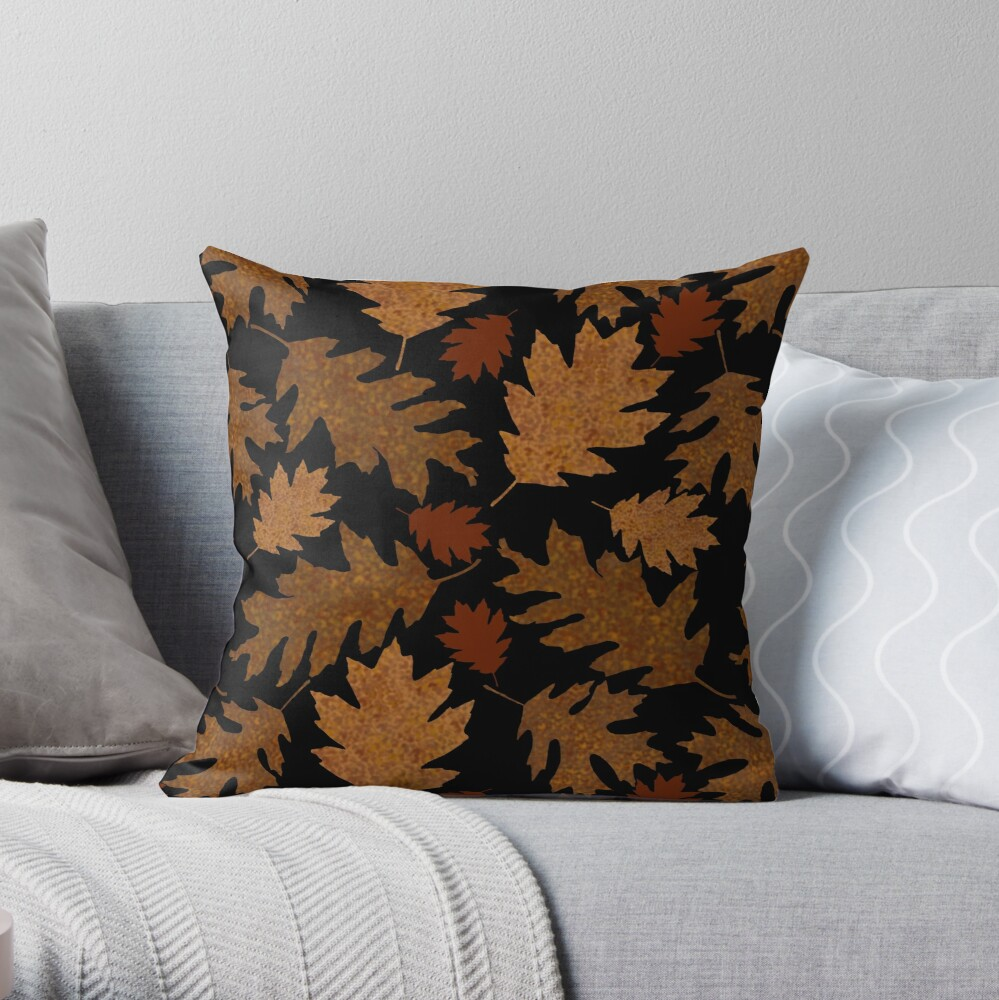 Rustic Golden Oak Leaves Throw Pillow
